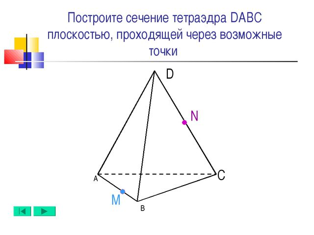 А B D C N M Построите сечение тетраэдра DABC плоскостью, проходящей через воз...