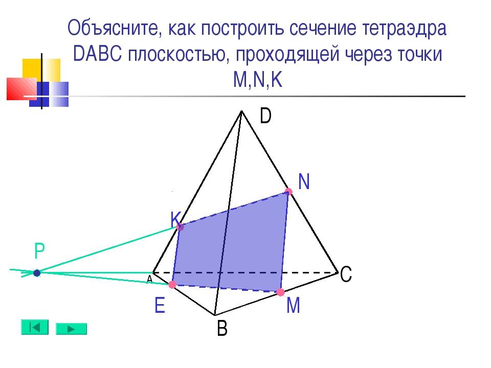 А B D C N M Е Объясните, как построить сечение тетраэдра DABC плоскостью, про...