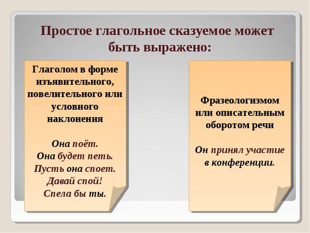 Простое глагольное сказуемое может быть выражено: Глаголом в форме изъявитель...