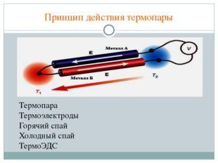 Принцип действия термопары Термопара Термоэлектроды Горячий спай Холодный спа