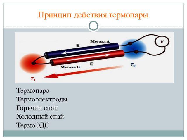Принцип действия термопары Термопара Термоэлектроды Горячий спай Холодный спа...
