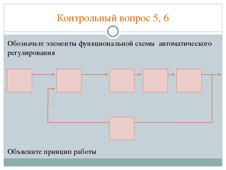 Контрольный вопрос 5, 6 Обозначьте элементы функциональной схемы автоматическ...