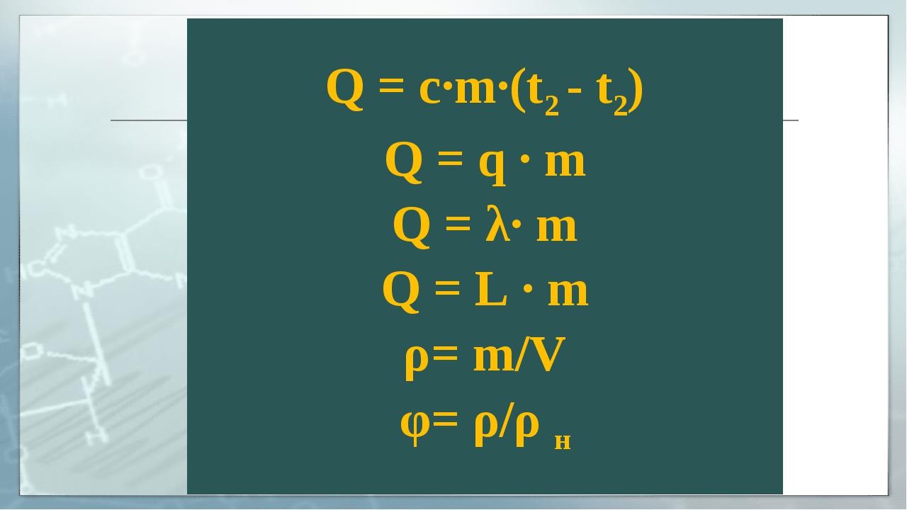 Q = с·m·(t2 - t2) Q = q · m Q = λ· m Q = L · m ρ= m/V φ= ρ/ρ н