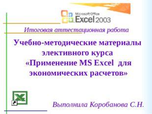 Учебно-методические материалы элективного курса «Применение MS Excel для экон