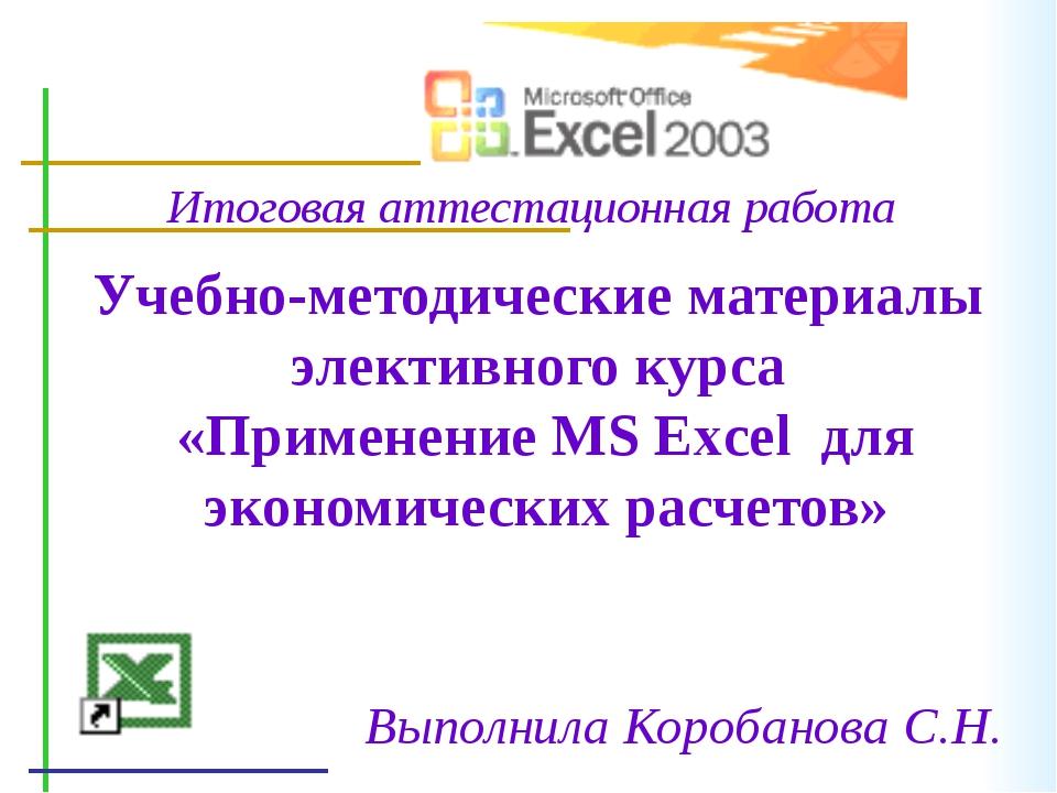 Учебно-методические материалы элективного курса «Применение MS Excel для экон...
