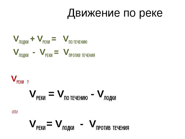 Движение по реке VЛОДКИ + VРЕКИ = VПО ТЕЧЕНИЮ VЛОДКИ - VРЕКИ = VПРОТИВ ТЕЧЕНИ...