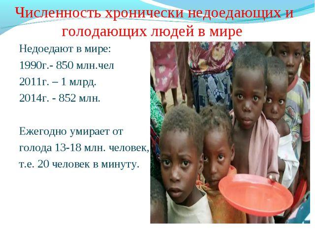 Численность хронически недоедающих и голодающих людей в мире Недоедают в мире...