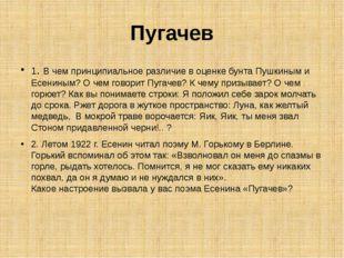 Пугачев 1. В чем принципиальное различие в оценке бунта Пушкиным и Есениным?