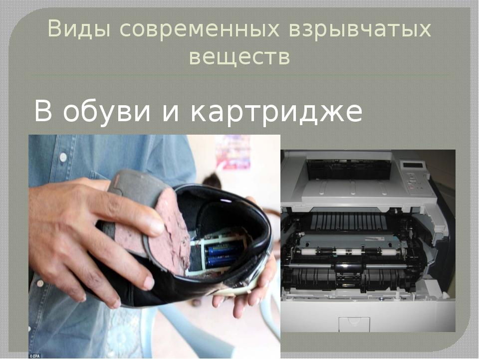 Виды современных взрывчатых веществ В обуви и картридже принтера