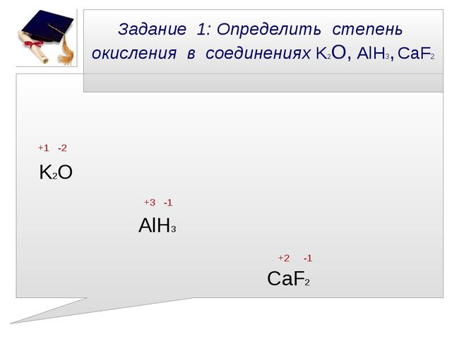 Задание 1: Определить степень окисления в соединениях K2О, AlH3, CaF2 +1 -2 K...