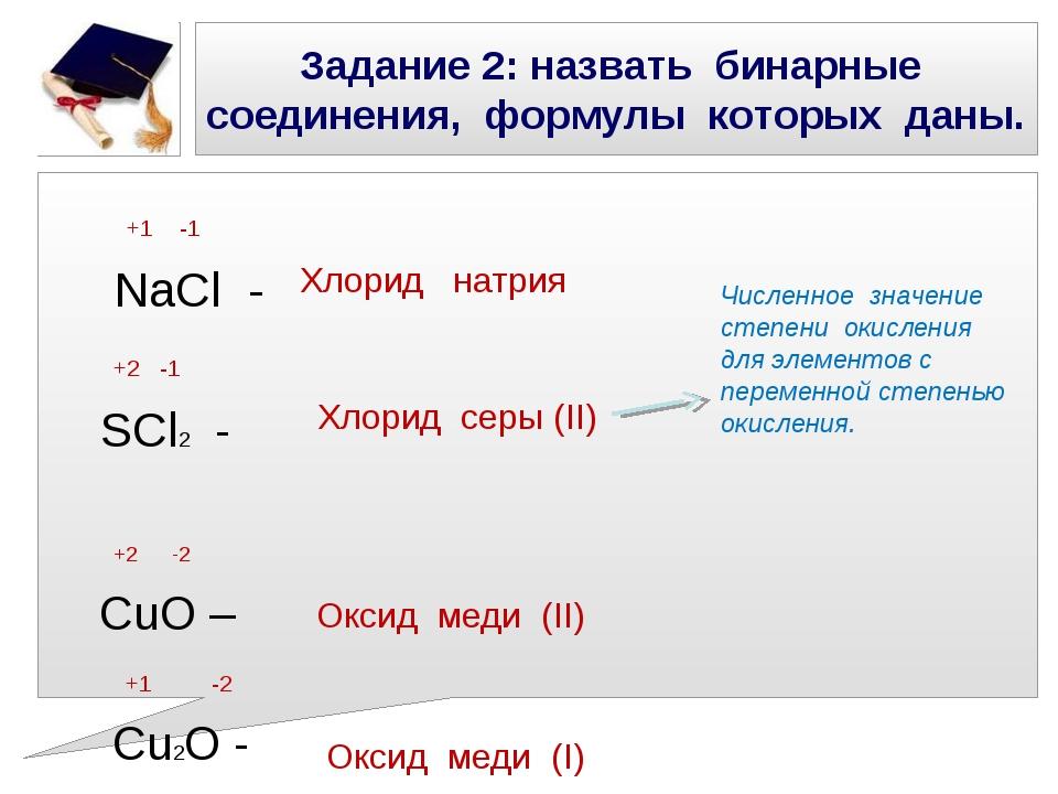 Задание 2: назвать бинарные соединения, формулы которых даны. +1 -1 NaCl - +2...