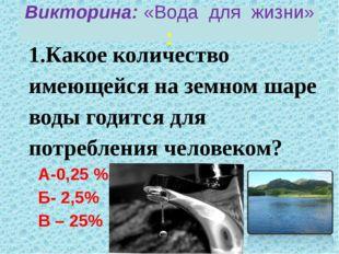 1.Какое количество имеющейся на земном шаре воды годится для потребления чело