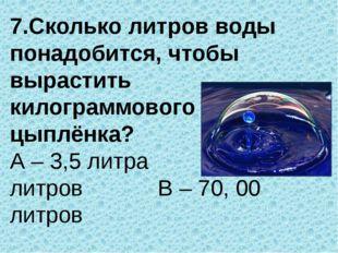 7.Сколько литров воды понадобится, чтобы вырастить килограммового цыплёнка? А