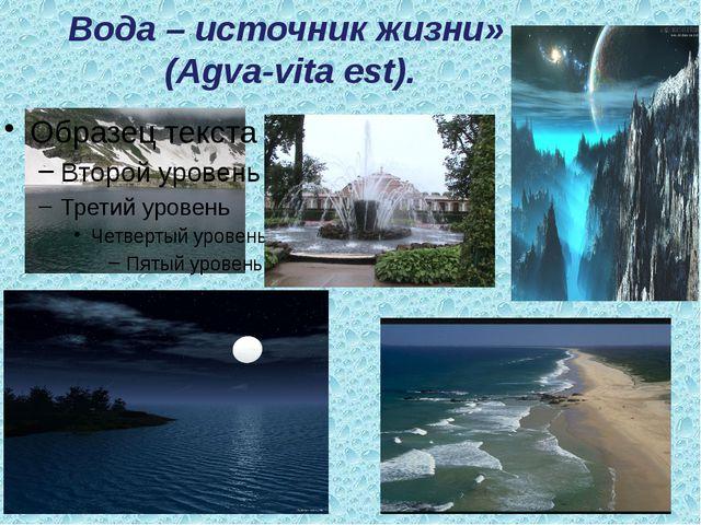 Вода – источник жизни» (Agva-vita est). «
