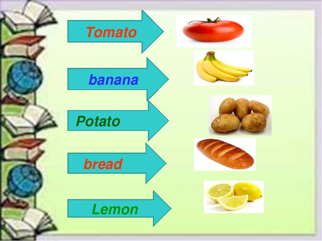 New words Tomato Tomato banana Potato bread Lemon