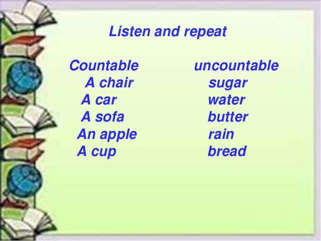 Listen and repeat Countable uncountable A chair sugar A car water A sofa but...