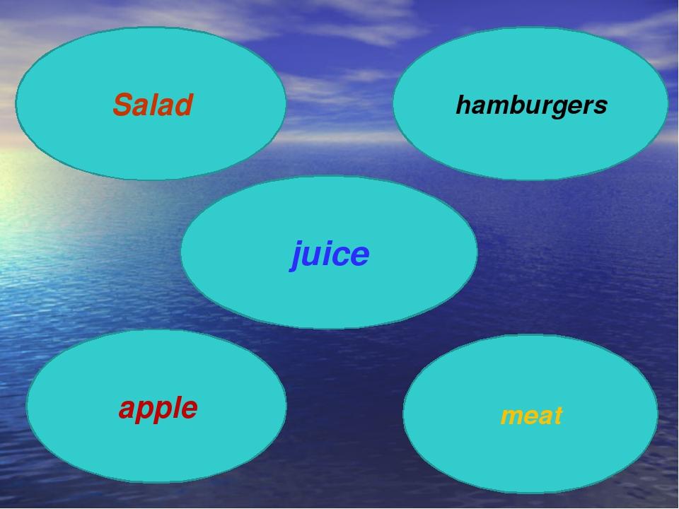 Salad hamburgers apple meat juice