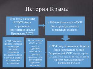 История Крыма 1921 году в составе РСФСР была образована многонациональная Кры