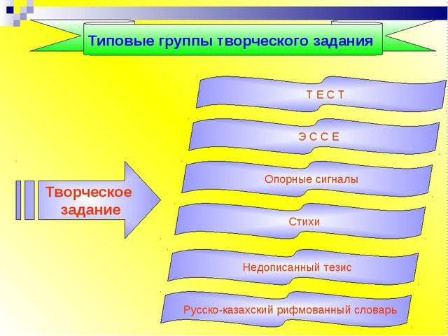 Типовые группы творческого задания