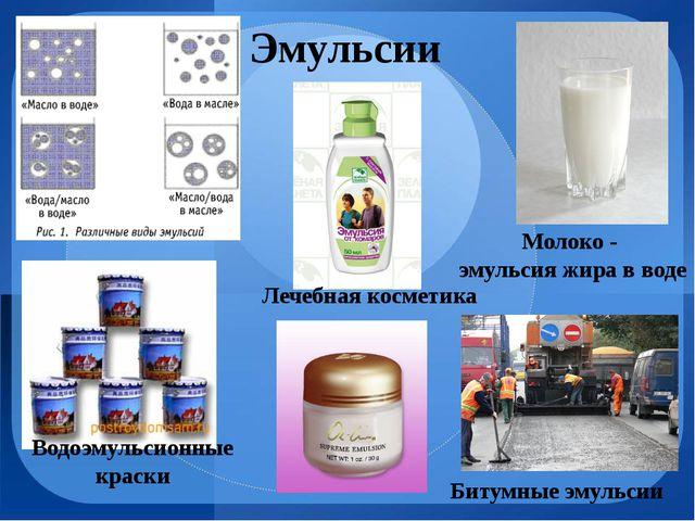 Молоко - эмульсия жира в воде Эмульсии Битумные эмульсии Лечебная косметика В...