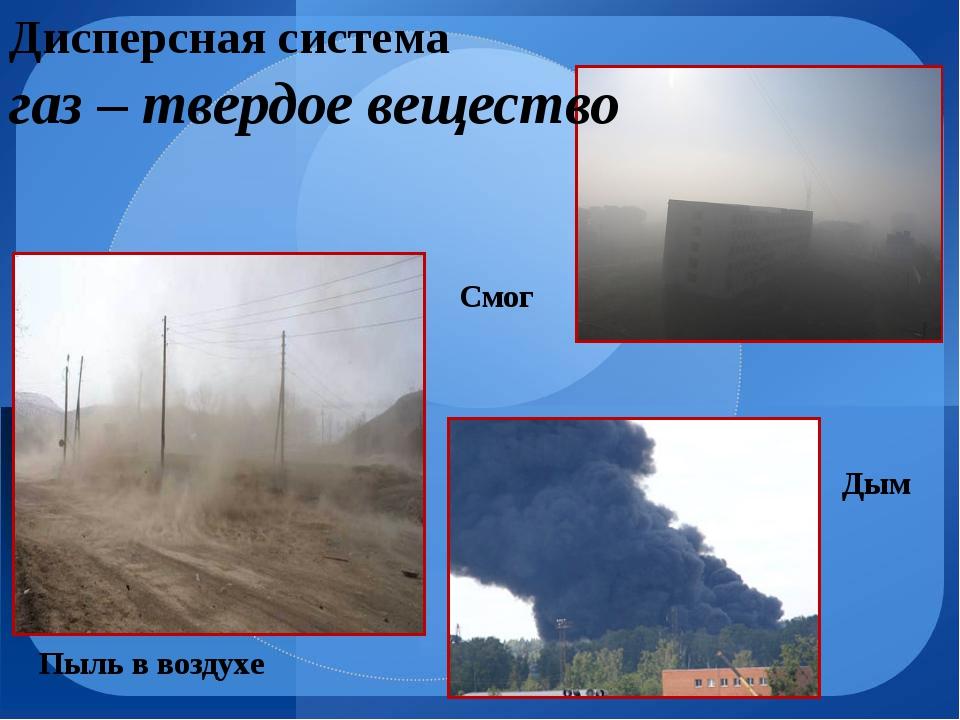 Дисперсная система Пыль в воздухе Дым Смог газ – твердое вещество