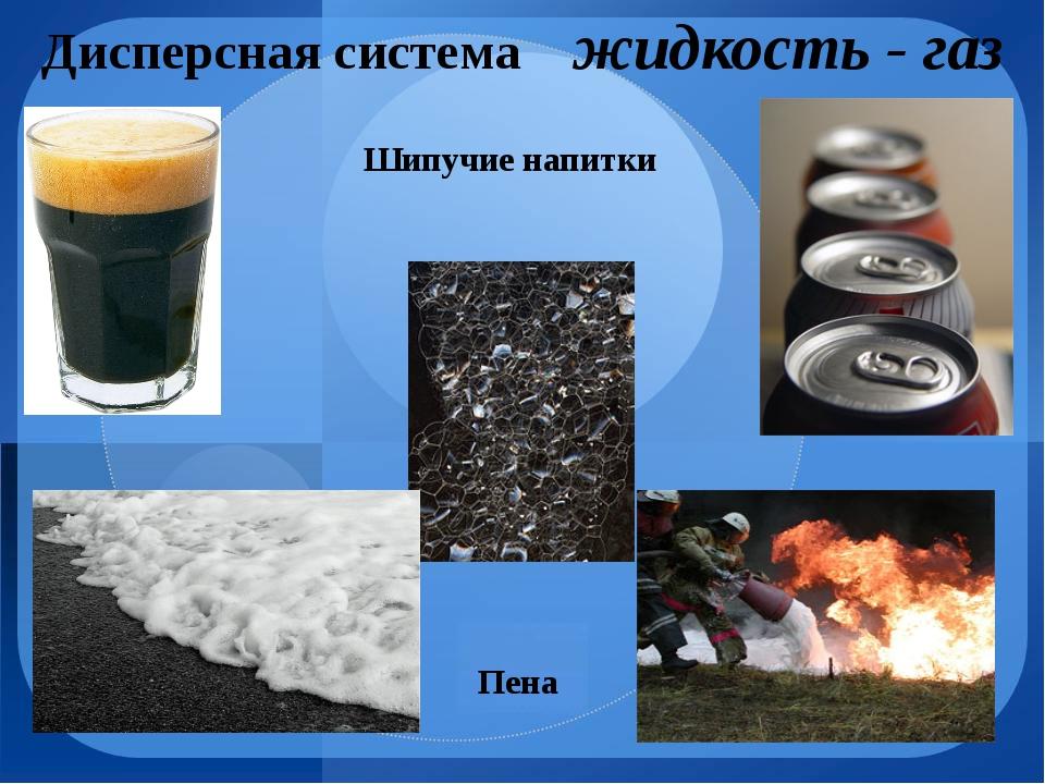 Дисперсная система жидкость - газ Пена Шипучие напитки