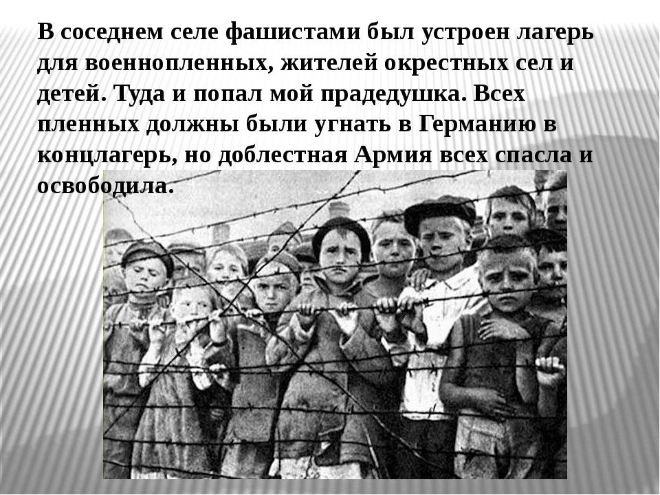 В соседнем селе фашистами был устроен лагерь для военнопленных, жителей окрес...