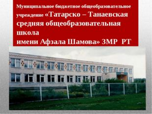 Муниципальное бюджетное общеобразовательное учреждение «Татарско – Танаевская
