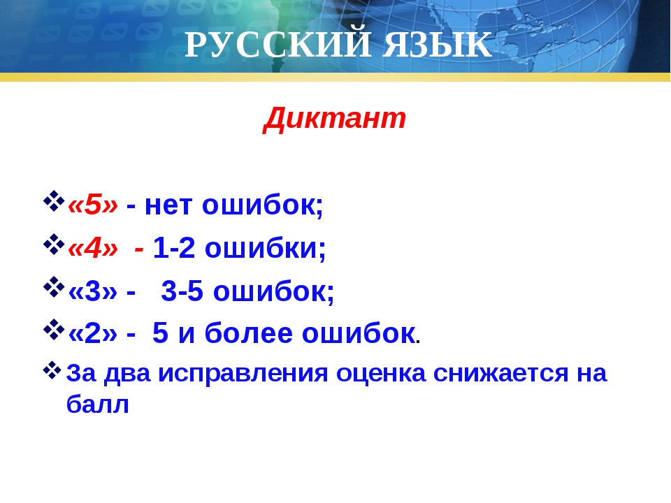 РУССКИЙ ЯЗЫК Диктант «5» - нет ошибок; «4» - 1-2 ошибки; «3» - 3-5 ошибок; «2...