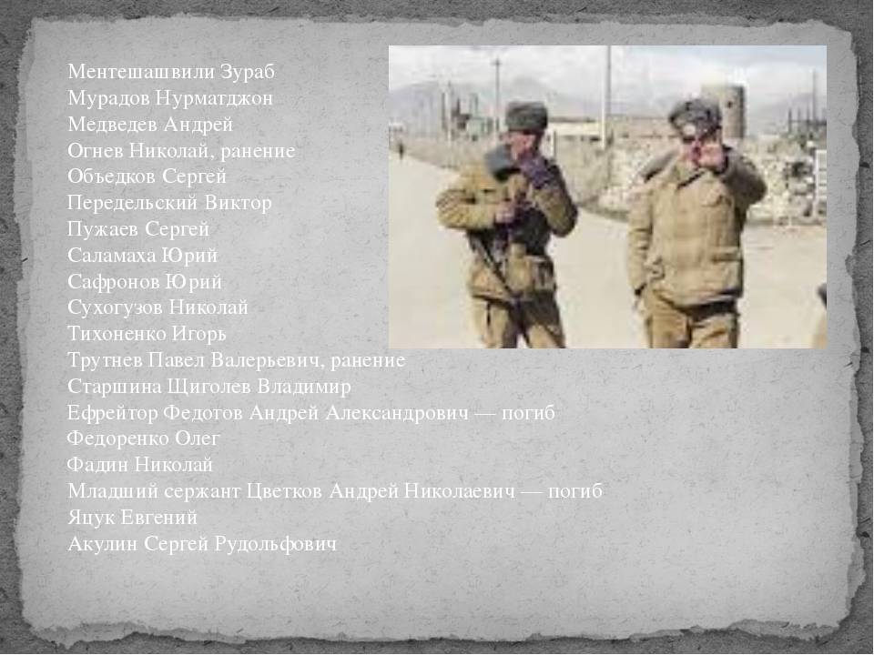 Ментешашвили Зураб Мурадов Нурматджон Медведев Андрей Огнев Николай, ранение...