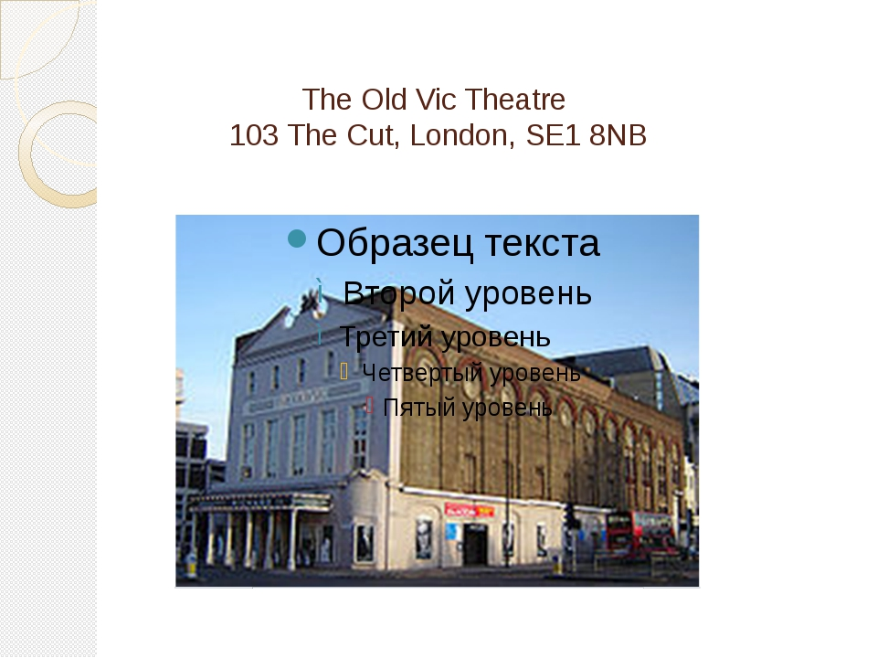 The Old Vic Theatre 103 The Cut, London, SE1 8NB