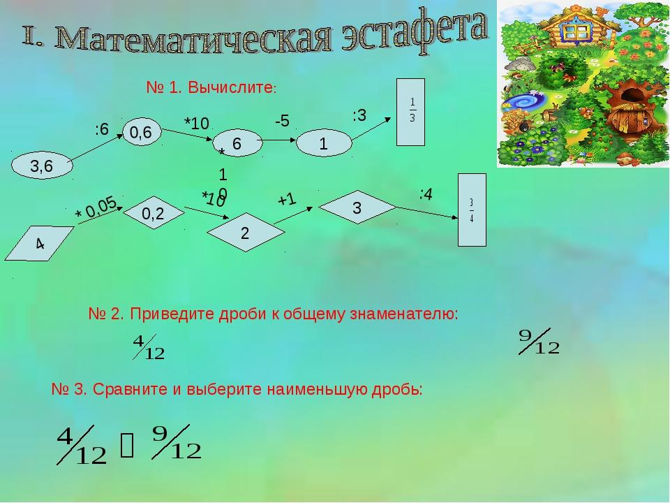 № 1. Вычислите: 3,6 0,6 6 1 :6 *10 -5 :3 4 0,2 2 3 *10 +1 :4 *10 * 0,05 № 2....