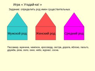 Игра « Угадай-ка! » Задание: определить род имен существительных. Мужской род