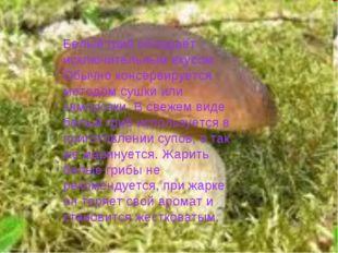 Белый гриб обладает исключительным вкусом. Обычно консервируется методом сушк