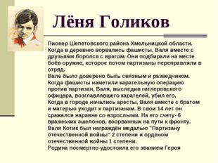Лёня Голиков Пионер Шепетовского района Хмельницкой области. Когда в деревню