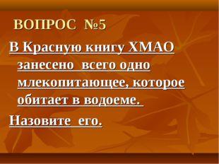 ВОПРОС №5 В Красную книгу ХМАО занесено всего одно млекопитающее, которое об