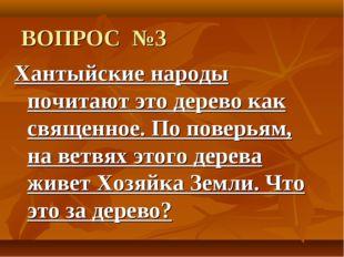ВОПРОС №3 Хантыйские народы почитают это дерево как священное. По поверьям, н