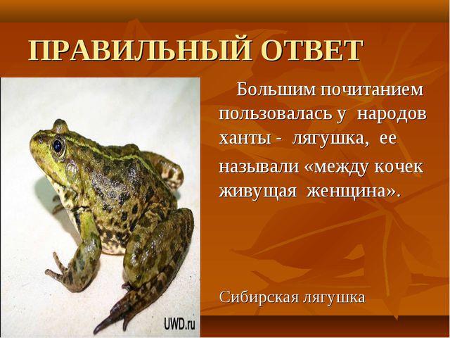 ПРАВИЛЬНЫЙ ОТВЕТ Большим почитанием пользовалась у народов ханты - лягушка,...