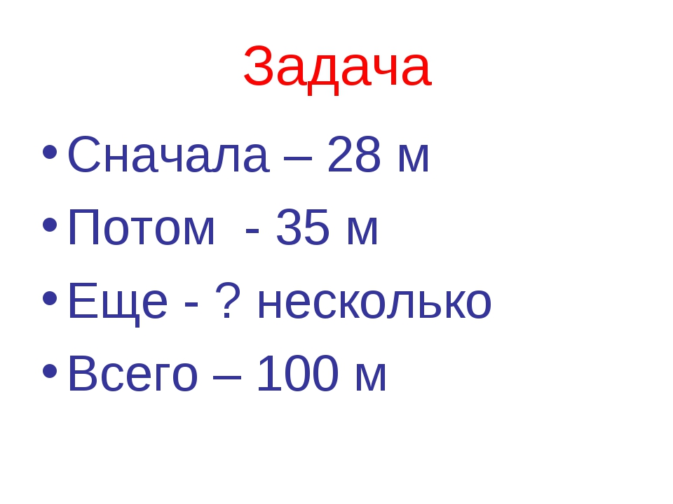 Задача Сначала – 28 м Потом - 35 м Еще - ? несколько Всего – 100 м