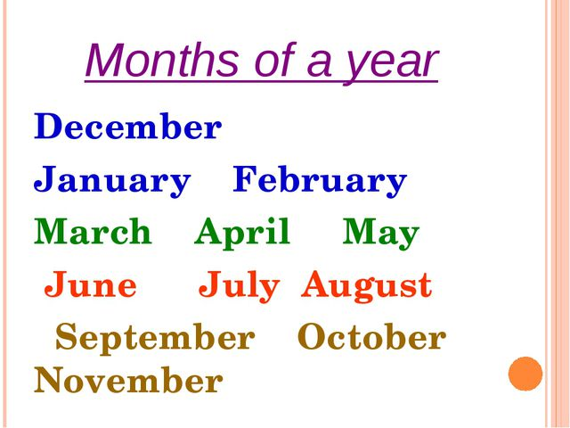 Months of a year December January February March April May June July August S...