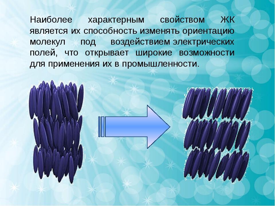 Наиболее характерным свойством ЖК является их способность изменять ориентацию...