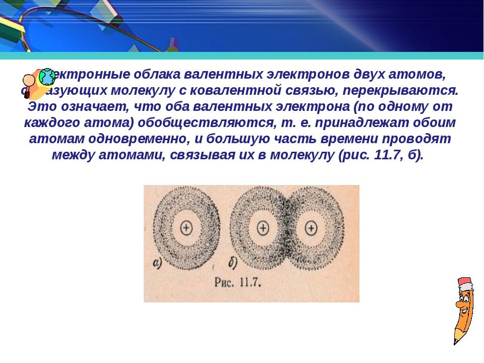 Электронные облака валентных электронов двух атомов, образующих молекулу с ко...