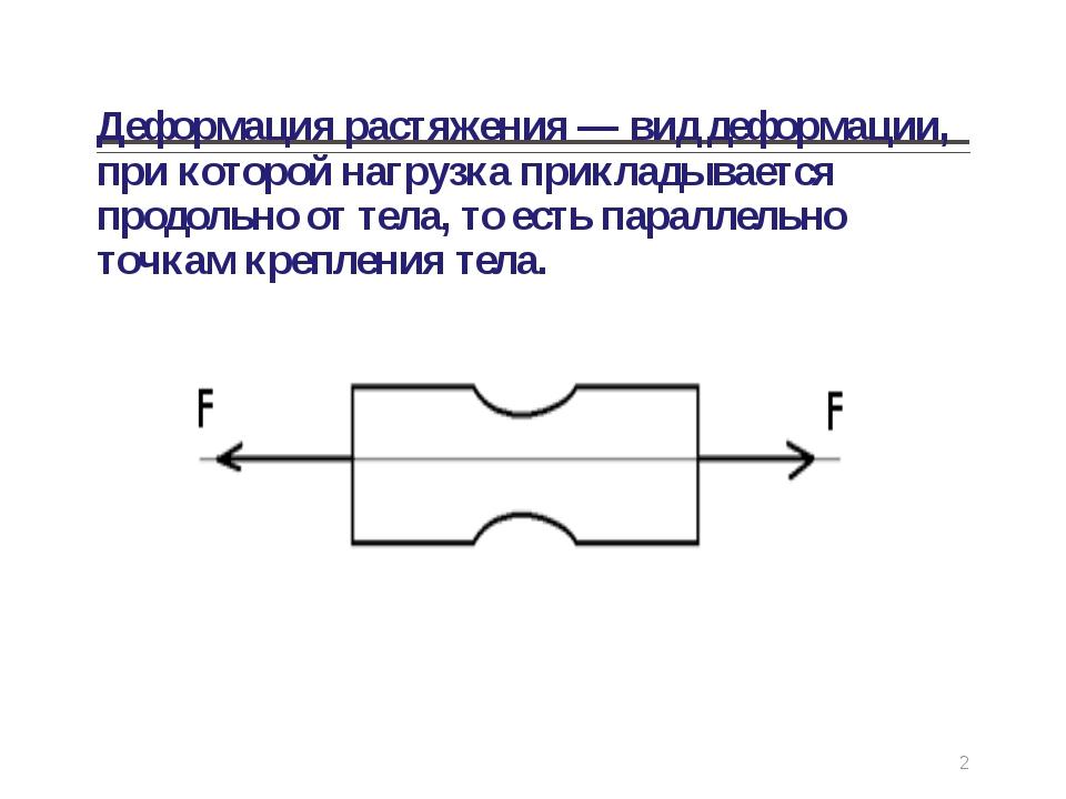 Деформация растяжения — вид деформации, при которой нагрузка прикладывается п...