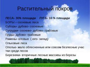 Растительный покров ЛЕСА- 30% площади ЛУГА- 10 % площади БОРЫ – сосновые леса