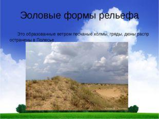 Эоловые формы рельефа Это образованные ветром песчаные холмы, гряды, дюны рас