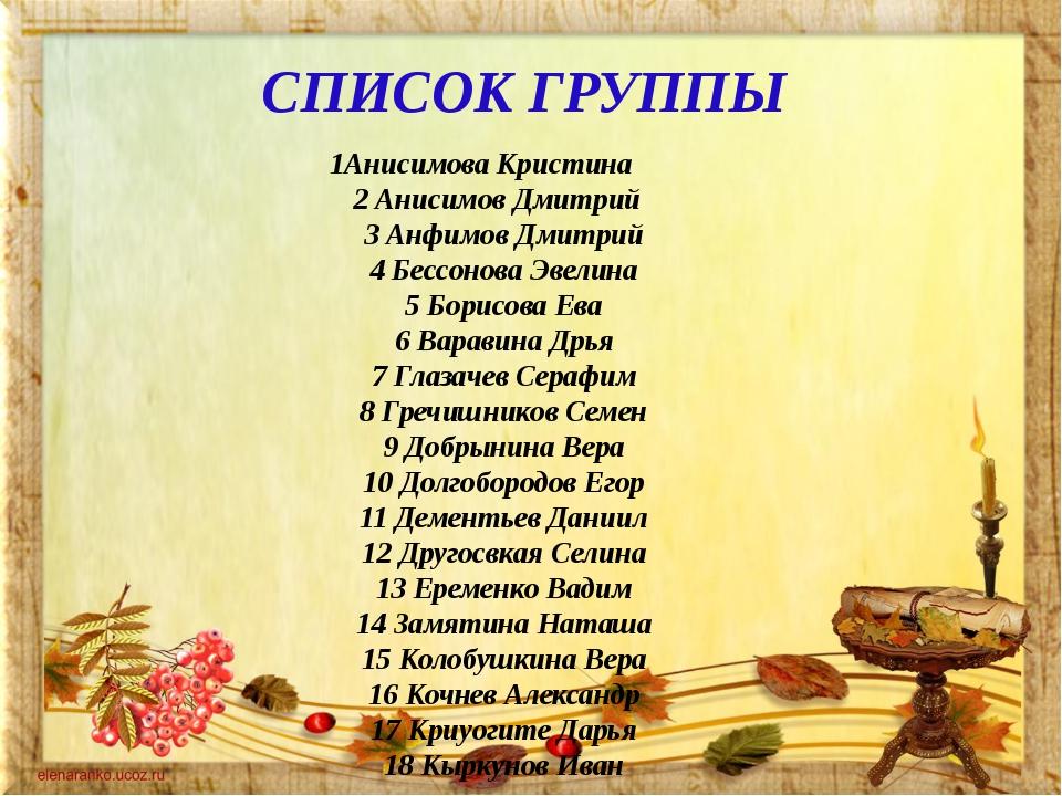 СПИСОК ГРУППЫ 1Анисимова Кристина 2 Анисимов Дмитрий 3 Анфимов Дмитрий 4 Бесс...