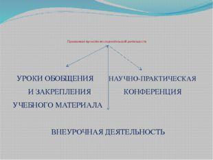 Применение проектно-исследовательской деятельности УРОКИ ОБОБЩЕНИЯ НАУЧНО-ПР