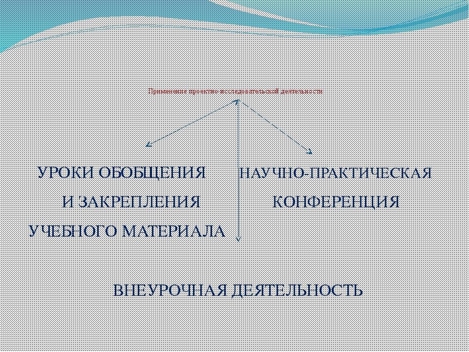 Применение проектно-исследовательской деятельности УРОКИ ОБОБЩЕНИЯ НАУЧНО-ПР...