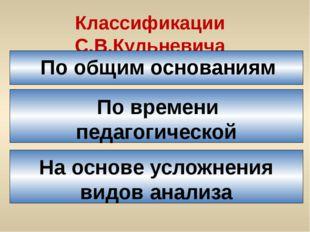 Классификации С.В.Кульневича По общим основаниям По времени педагогической де