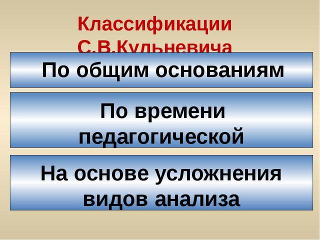 Классификации С.В.Кульневича По общим основаниям По времени педагогической де...